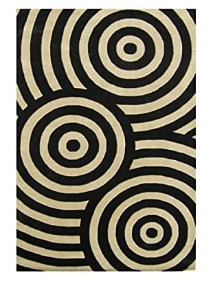 Alliyah Rugs New Zealand Wool Rug (Black/Beige)