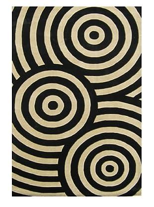 Alliyah Rugs New Zealand Wool Rug (Black/Beige)
