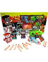 RAPID FIRE SOFT BULLET GUN with 4 ZOMBIE TARGETS