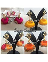 Offer!!! Set of 4 silk thread grand jhumkas by Sayee Creation