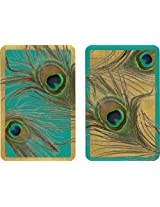 Entertaining with Caspari Double Deck of Bridge Playing Cards, Peacock, Set of 2