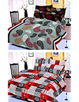 Nature Made Pack of 2 Red & Grey Printed Double Bed Sheets 250 TC