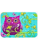 Caroline's Treasures PJC1093JCMT Sitting in the Flowers Owl Kitchen or Bath Mat, 24 by 36 , Multicolor