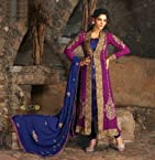 Blue/Purple Georgette Suit with Dupatta-6515 - A