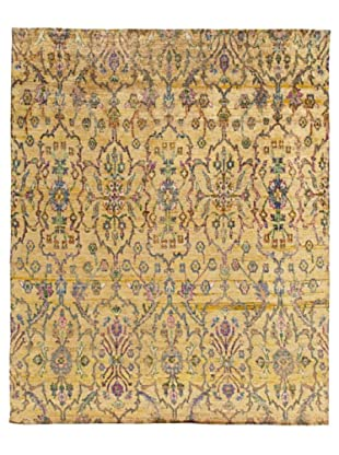 Silk Hand-Knotted Ikat Rug (Cream Multi)