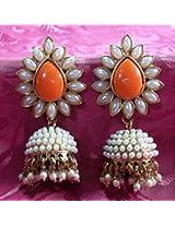 Aashiqui 2 earrings orange polki pearls jhumka earrings