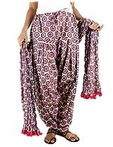 eSTYLe Purple Floral Cotton Printed Semi Patiala & Dupatta set
