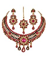 I Jewels Traditional Gold Plated Elegantly Handcrafted Stone Necklace Set with Maang Tikka & Earrings for Women M4041QG (Rani/Dark Pink & Green)