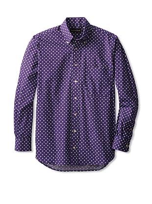 Kenneth Gordon Vintage Capsule Men's Polka Dot Woven Shirt (Purple)