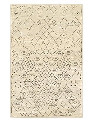 Hand-Knotted Mystique Gabbeh Wool Rug, Cream, 5' x 8'