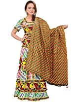 Exotic India Multi-Colored Lehenga Choli from Rajasthan with Embr - Multicolored
