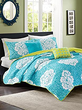 Luxury Home Tanya 4-Piece Twin/Twin-XL Coverlet Set, Blue