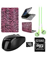 VangoddyTM Faux Leather Book Style Folio Protective Cover for Apple Macbook Pro 13.3-inch Laptops + Green VanGoddy Headphones + Black USB Wireless Mouse + 16GB Memory Card (Pink Zebra)