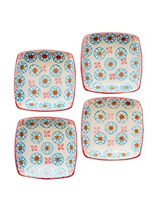 Couleur Nature Set of 4 Bleu D'Chine Ceramic Square Plates