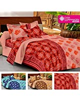 Casa Basics- Ezy Collection,144 Thread Count Standard 100% Cotton Solid,Traditional,Geometric Double Bedsheet With 2 Pillow Cover- Orange & Red