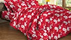Bombay Dyeing Bluebells Cotton Double Bedsheet with 2 Pillow Covers - Red