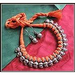 [N16O_018] Orange Thread Necklace 03