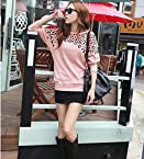 Women's Batwing Tops Long Sleeve Casual Blouse Leopard Print T-Shirt