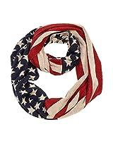 "Purple Box Jewelry 4th of July USA Flag Scarf (Flag Knit Infinity Scarf 12""x56"")"