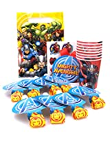 Marvel Avengers Birthday Party Supplies Pack. Blowouts, Marvel Avengers Favors Goodie Bags, Avengers Temporary Tattoos, Candle, One Avengers Medal And Avengers Paper Cups