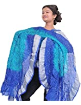 Exotic India Tie-Dye Bandhani Dupatta From Gujarat - Color BlueColor Free Size