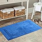 AURAVE Reversible Cotton Bath Mat- High Absorbency -ROYAL BLUE