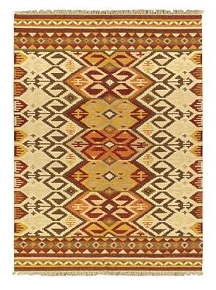 Hand Woven Kashkoli Wool Kilim, Beige, 5' 7