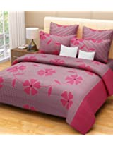 Home Candy 144 TC 100% Cotton Fuschia Flowers and Checks Double Bed Sheet with 2 Pillow Covers