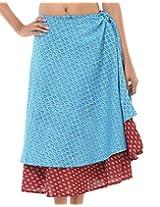 Rajrang Floral Design Long Handmade Cotton Printed Wrap Around Skirt