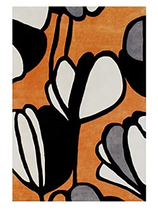 Horizon Alliyah Collection Mod Flower Rug (Orange/Black Multi)