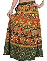 Exotic India Wrap-On Long Skirt from Pilkhuwa with Printed Paisleys and Elephant - Color Green GablesGarment Size Free Size