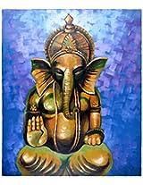 Liflad Artmart Acrylic and Canvas Lord Ganesha Painting (61 cm x 61 cm)