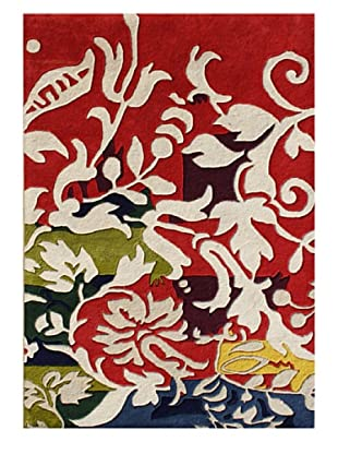 Horizon Rugs New Zealand Wool Rug (Red/Vanilla/Olive/Blue)