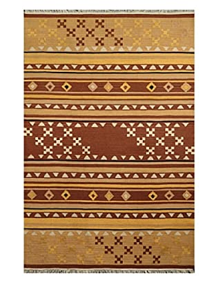 Hand Woven Esme Wool Kilim, Brown/Light Brown/Multi, 5' x 8'