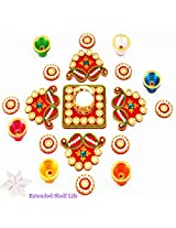 Ghasitaram Gifts Traditional Pearl Rangoli with Diyas and Kaju Katli