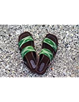 Kurio Green Ikat Sandal in Green and Brown