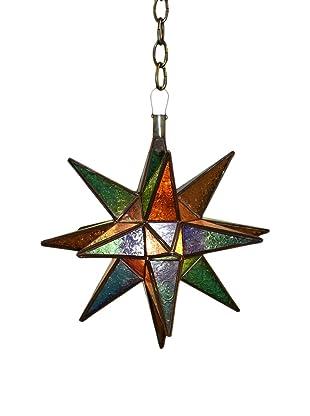 Badia Star Hanging Glass Lantern, Blue/Amber/Green/Red