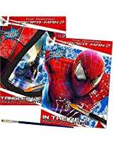 Marvel Spiderman Paint With Water Books with Paint Brush (2 Books, 1 Green-Tip Paint Brush)