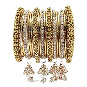 9blings bridal collection gold plated 20pc jhumki chuda bangle l21