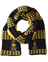 Psycho Bunny Men's Dawson Houndstooth Knitted Scarf, Navy/Chamois, One Size