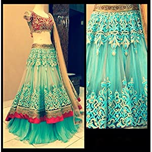 Sky Blue Cream & Red Colored Designer Festive Wear Lehenga by Honeydews Fabrics