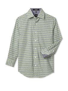 Ike Behar Boy's 8-20 Printed Sport Long Sleeve Shirt (Green)