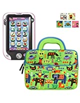 Evecase LeapFrog Epic/ LeapPad Platinum/ LeapPad Ultra XDI 7'' Kids Tablet Sleeve Case, Cute Animal Themed Neoprene Travel Carrying Slim Bag w/ Dual Handle and Accessory Pocket - Green w/ Blue Trim
