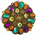 Multi-Color Embroidered Patch with Beads and Zardozi Work - Art Silk