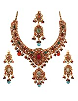 Antique Multi Color Choker Necklace With Maang Tika and Earrings