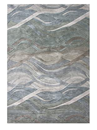 Alliyah Rugs Hills Wave Rug (Silver/Green/Multi)