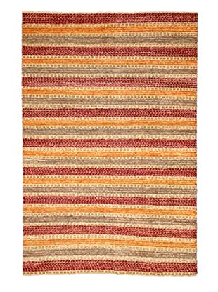 Solo Rugs Modern Hand-Knotted Rug, Canary/Red, 5' 5