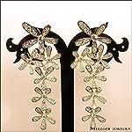 Aachiz Rhinestone Crystal Snowflake Flower Bridal Dangle Earrings