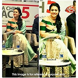 Bollywood Sarees - Kajol Moss and net Replica Saree In Lime Green Colour