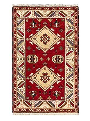Hand-Knotted Royal Kazak Wool Rug, Red, 3' 1